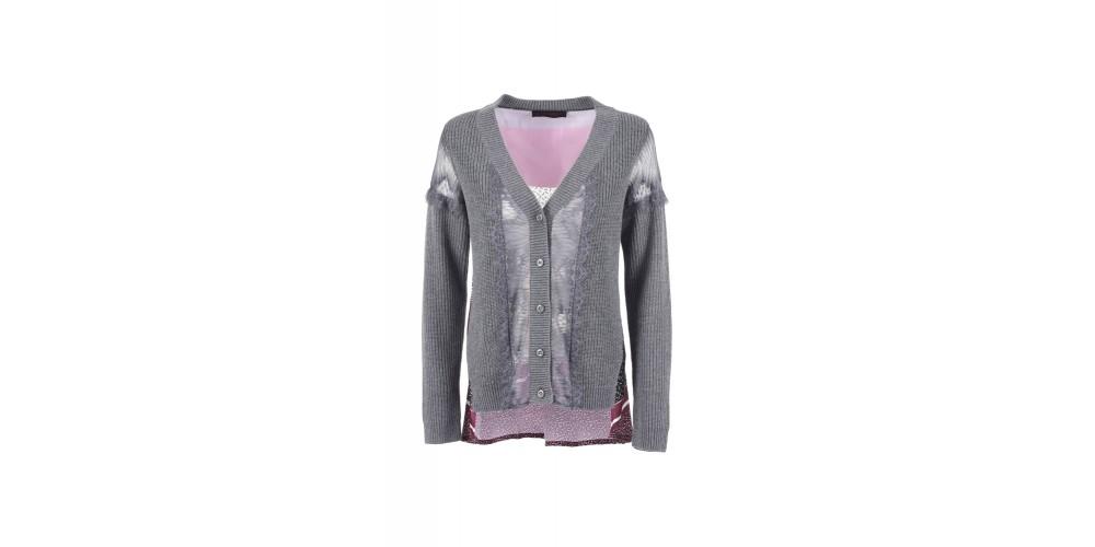 Cafe Noir CARDIGAN STAMPATO CON PIZZO DONNA